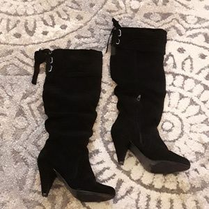 Naughty Money Size 7 Black Suede Knee High Boots